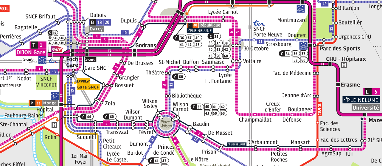 plan Tram DIVIA à Dijon